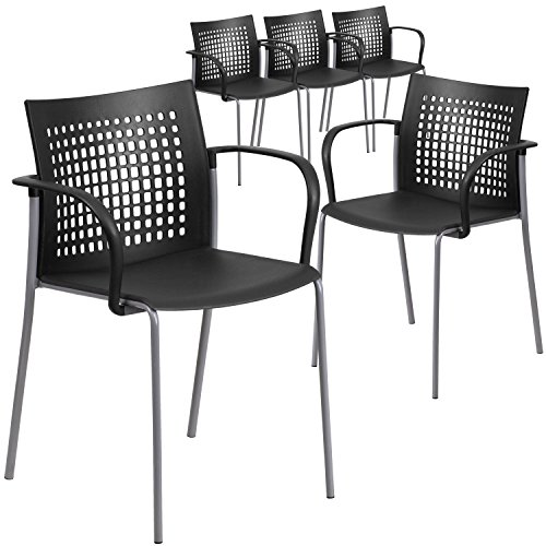(Flash Furniture 5 Pk. HERCULES Series 551 lb. Capacity Black Stack Chair with Air-Vent Back and Arms)