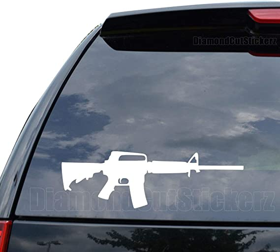 AR-15 Assault Rifle Decal Sticker Car Truck Motorcycle Window Ipad Laptop Wall Decor - Size (22 inch / 56 cm Wide) - Color (Gloss White)