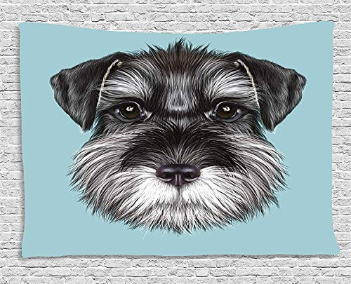 ADAM MARTINEZ JR Animal Tapestry, Illustration of a Cute Baby Schnauzer on Blue Background Puppy Portrait, Wall Hanging for Bedroom Living Room Dorm, 80WX60L Inches, Light Blue Black White