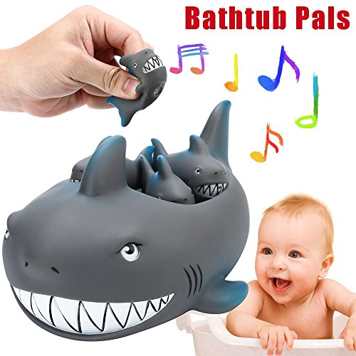 Euone  Christmas, 4PCS Shrilling Rubber Cute Shark Family Bathtub Pals Floating Bath Tub Toy for Kids (Sale For Pool Swimming Artificial)