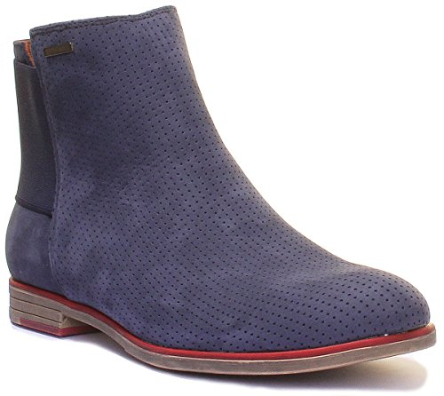 Justin Reece Women Perforated Flat Leather Chelsea Boot (3 UK, Navy)