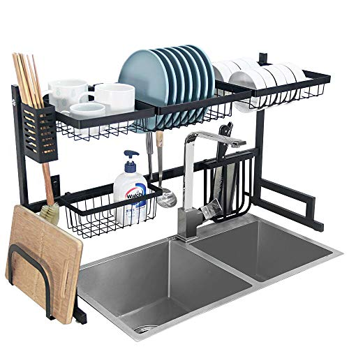 Dish Drying Rack Over Sink Kitchen Supplies Storage Shelf Countertop Space Saver Display Stand Tableware Drainer…
