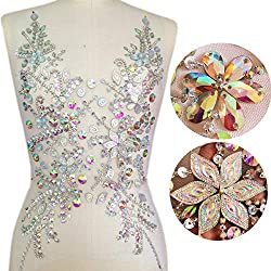 AB Silver Hand Made Beaded Sequins Crystals Rhinestones Patch