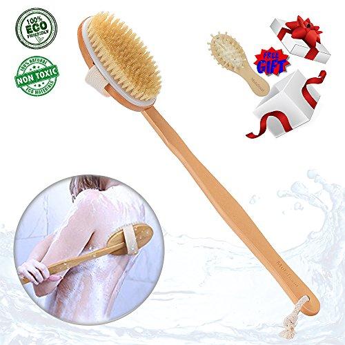 dry brushing body brush skin brush natural bristles back scrubber exfoliating massager shower dry/wet bath brush for men/women long relax wood handle -cellulite,circulation,skin beauty healthy