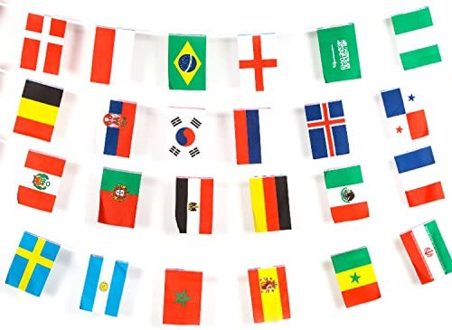 f3af09e70014 Russia World Cup Football Bunting Flags - 32 Country Flags - 11m Long -  Perfect For Bars And Gardens - 14 x 21cm Flags  Amazon.co.uk  Sports    Outdoors