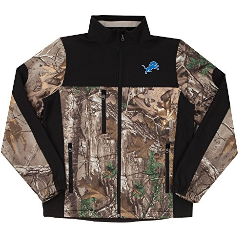 NFL Detroit Lions Hunter Colorblocked Softshell Jacket, Real Tree Camouflage, -