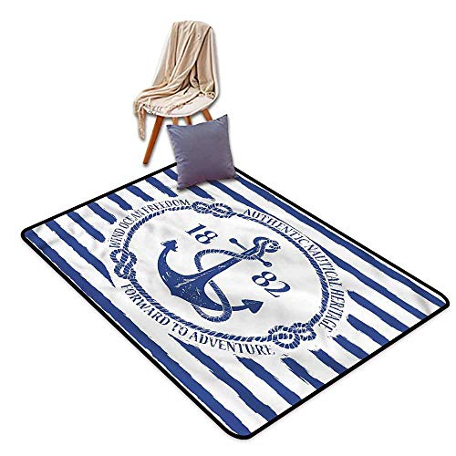 Kids Rug,Anchor Blue Sign with Rope Stripes,Rustic Home Decor,3'3