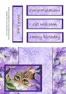 Gato y Clematis de la acuarela tarjeta por Pamela West