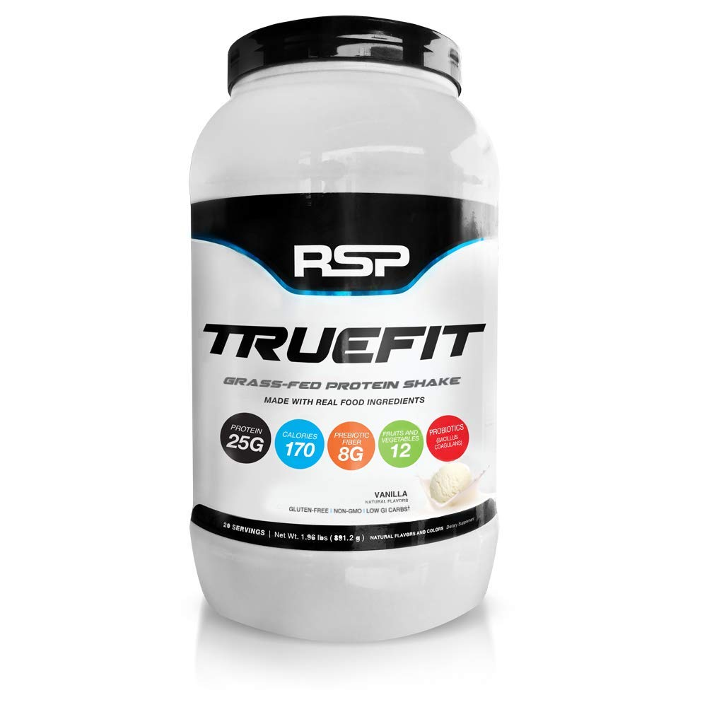 RSP TrueFit - Grass-Fed Lean Meal Replacement Protein Shake, All Natural Whey Protein Powder with Fiber & Probiotics, Non-GMO, Gluten-Free & No Artificial Sweeteners, 2 Pounds (Vanilla)
