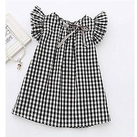 Queta Summer Baby Dress Girls plaid volante manica vestito da principessa coreano camicia a maniche corte in cotone 120