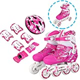 Anfan Adjustable Inline Skate Set for Kid, Comfortable Roller Shoes Outdoors, Safe and Durable Training Rollerblades (US Stock) (Pink, US 2-4)