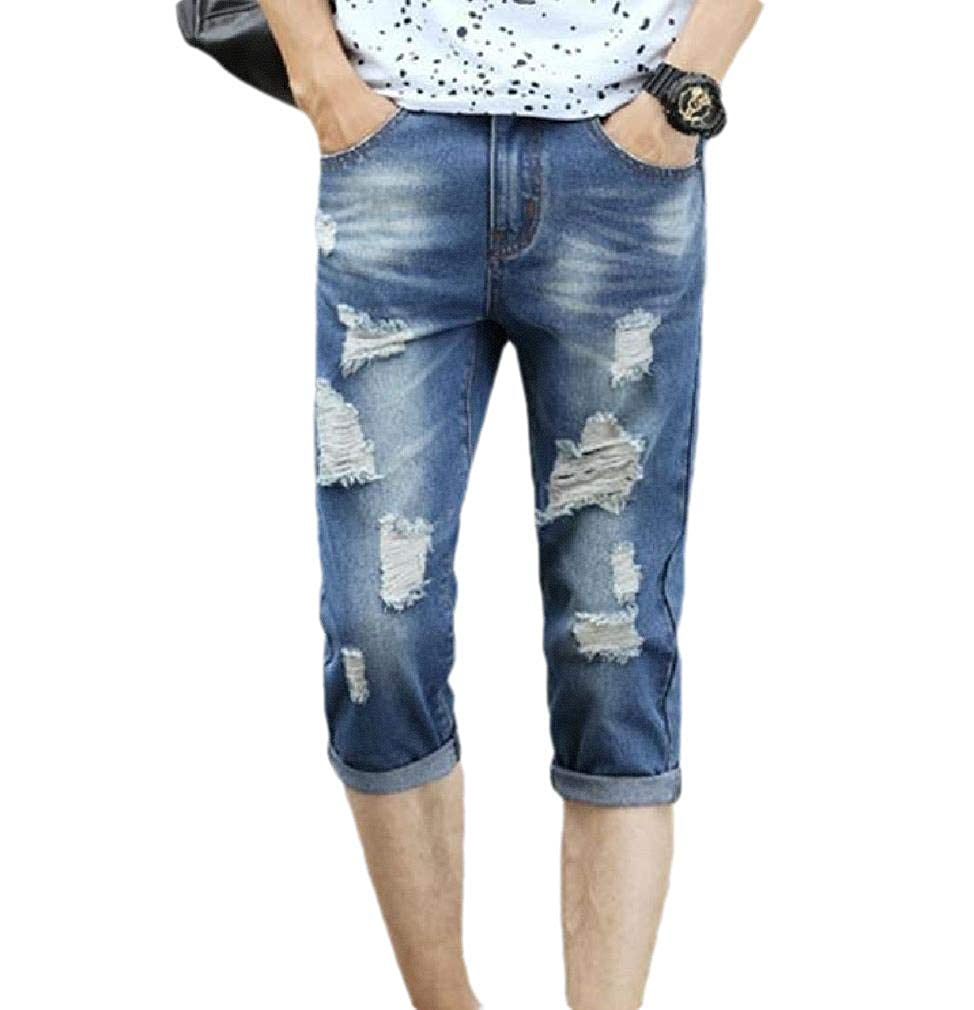 Unastar Mens Summer Washed Capri Ripped Oversized Slim-Fit Mid Waist Pants
