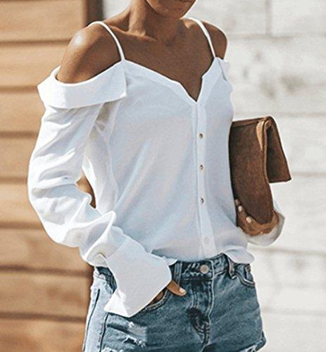 Mode Tee Longues Hauts Epaule Automne Shirt Manches Shirts Dos Printemps T Blanc Legendaryman et Chemisiers Spaghetti Femmes Strap Blouse Nu Nu Tops xIXOqvzqw
