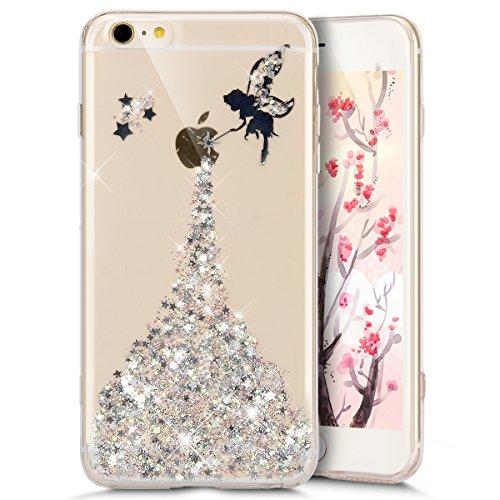 Funda Case iPhone 5/5S/SE silicona,Ukayfe Carcasa Espejo iPhone 5/5S/SE Mirror Case,Ultra fina de Tpu funda de silicona espejo brillante Cover Case, brillantes cristal Bling Gliter Espejo �?Carcasa de Fee:Silber