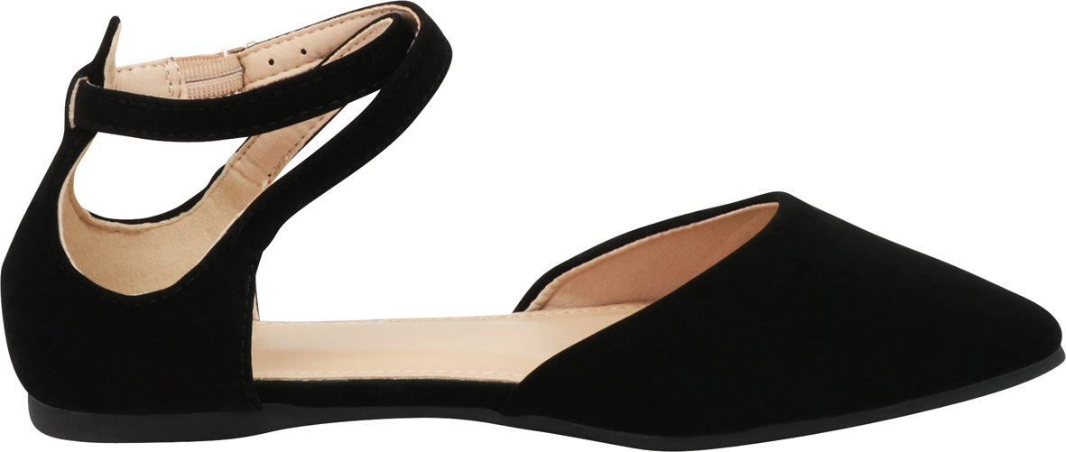 Cambridge Select Women's Closed Pointed Toe D'Orsay Crisscross Strap Ballet Flat B07F6HQYWM 8 B(M) US|Black Nbpu