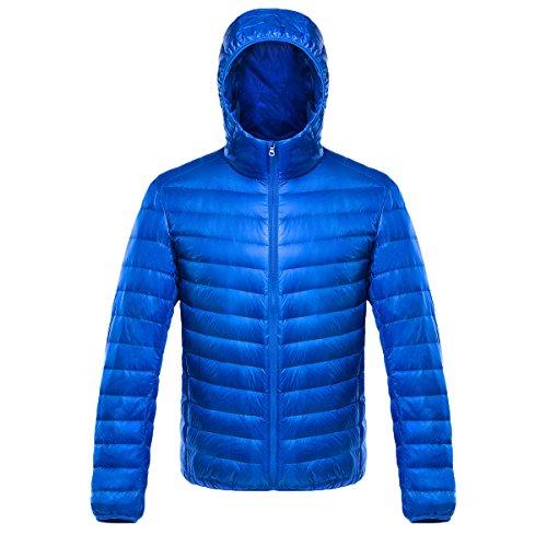 Cappuccio Ake Sapphire Giacche Down Blue Sleeve Con Long Uomo Packable Giacca Puffer wxRqrYw6S