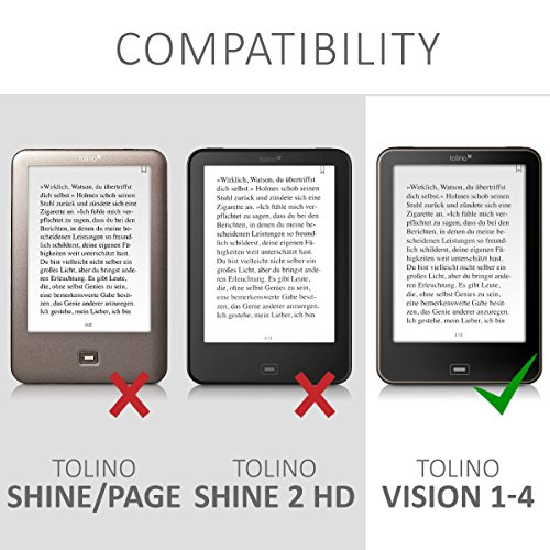 kwmobile Cover for Tolino Vision 1/2 / 3/4 HD - Case with Built-in Hand Strap and Stand in Black by kwmobile (Image #6)