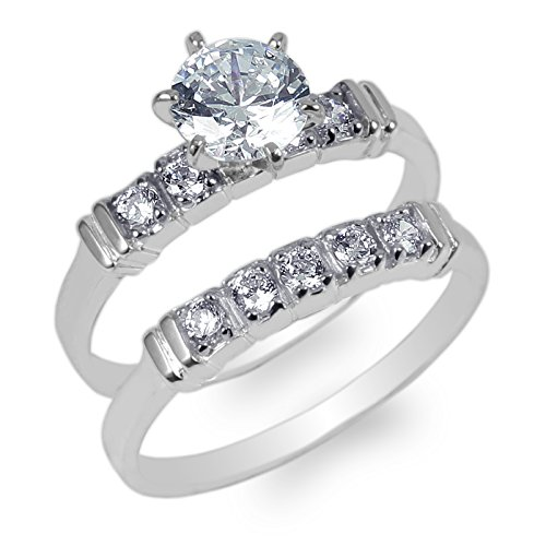 JamesJenny Ladies Set 10K White Gold 0.9ct Round CZ Wedding Ring Size 6.5 (10k Set Gold)