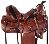 AceRugs TREELESS Draft Cross Horse Saddle Western Pleasure Trail Horse TACK Premium Leather Tooled Headstall Breastplate REINS