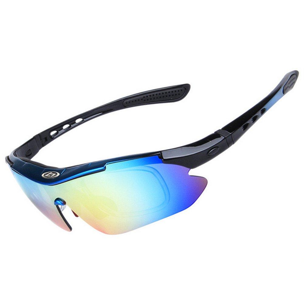 wonzone偏光UV保護サングラスメンズレディーススポーツメガネクールゴーグル5交換可能なレンズfor Bicycling、釣り、ゴルフ、運転、スキーとすべてのアウトドア活動  Blue&Black B01KLIAZLE