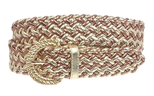 1 1/4 Inch Wide Metallic Braided Woven Belt Size: M - 36 Color: Gold/Copper - Metallic Woven Belt