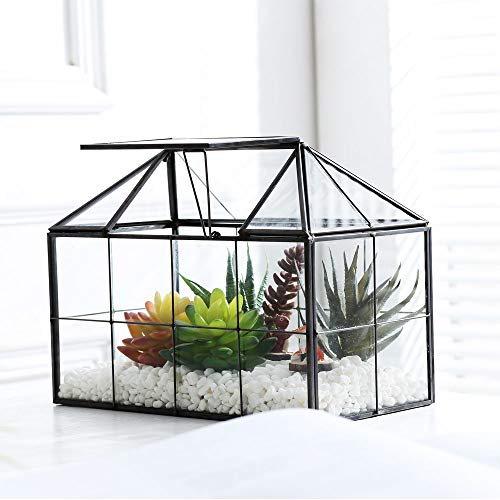 Purzest Glass Terrarium,House Shape Close Glass Geometric Terrarium Tabletop Succulent Plant Box Planter ()