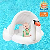 Jie-channel Baby Pool Float Toddlers Swimming Swan Float with Canopy for Summer Outdoor Beach Swimming Pool Party for Infant 3-48 Moths