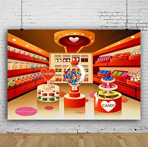 Leowefowa 7x5FT Vinyl Photography Backdrop Fairytale Candy Store Candy Shelf Candy Jars Sweet Birthday Baby Shower Background Event Party Decoration Portrait Photo Shoot Studio Photo Booth Props
