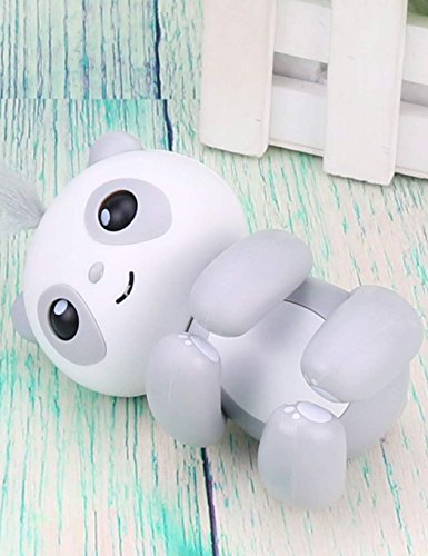 (Dozenla Finger Intelligent Interactive Toy Cartoon Panda Shape Electronic Sleep Robot Puppets with Voice for Kids (Grey))