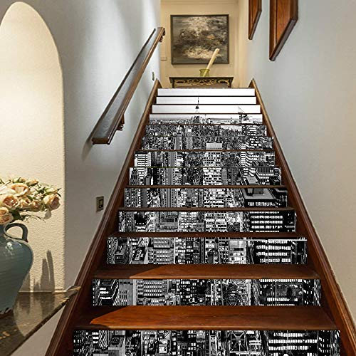 """New York Staircase Stickers,Panorama of Manhattan High Buildings of City Famous Monument USA Black and White Photo Self-Adhesive Wall Stair Stickers Mural Wallpaper for Home Decor,39.3""""x7""""x13PCS"""