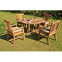 """*Clearance* 5 Pc Grade-A Teak Wood Dining Set - 48"""" Round Butterfly Table And 4 Osborne Arm Chairs #WFDSOS3"""