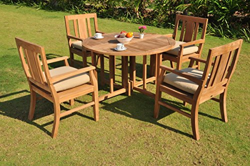 *Clearance* 5 Pc Grade-A Teak Wood Dining Set – 48″ Round Butterfly Table And 4 Osborne Arm Chairs #WFDSOS3 Review