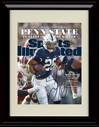 Framed Saquon Barkley Sports Illustrated Autograph Replica Print - Penn State Nitany Lions