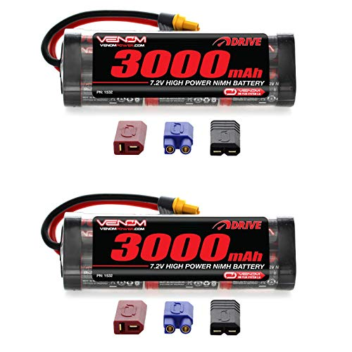 Venom 7.2V 3000mAh 6-Cell NiMH Battery with Universal Plug (EC3/Deans/Traxxas/Tamiya) x2 Packs (6 Main Battery Cell)