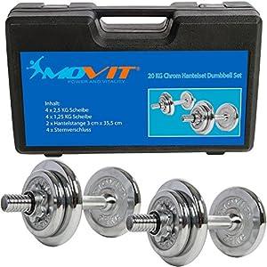 MOVIT® 20 kg Chrom Kurzhantel Set aus GUSSEISEN im Koffer, 2 Stück a 10kg,...