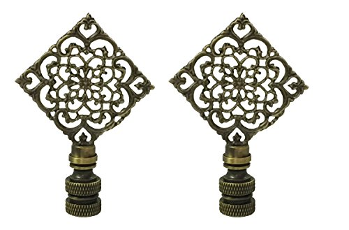 Royal Designs Diamond Floral Filigree lamp Finial for Lamp Shade- Antique Brass Set of 2