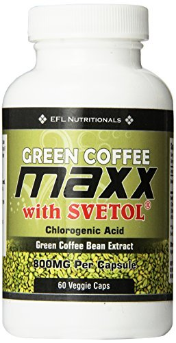 - Green Coffee Maxx with Svetol 800mg Per Capsule 30 Day Supply 60 Count Vegicaps No Fillers by EFL Nutritionals