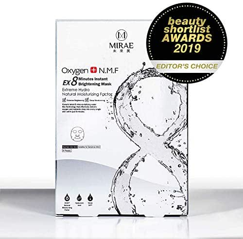 MIRAE Beauty 8 Minutes Brightening Facial Sheet Mask - Hypoallergenic Essence for Lightening, Whitening Uneven Skin Tone and Dark Spots for a Dewy Glow To Dehydrated Skin
