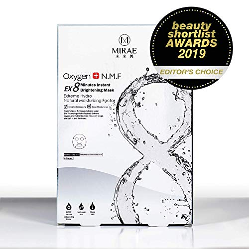MIRAE Beauty 8 Minutes Brightening Facial Sheet Mask - Hypoallergenic Essence for Lightening, Whitening Uneven Skin Tone and Dark Spots for a Dewy Glow To Dehydrated Skin (Best Whitening Face Mask)