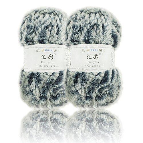 Super Soft Fur Yarn Smooth Fluffy Faux Fur Eyelash yarn For Crochet Knit By NICEEC With 2 Skeins-Total Length 2×32m(2×35yds,50g×2)-Navy Blue - Fur Yarn