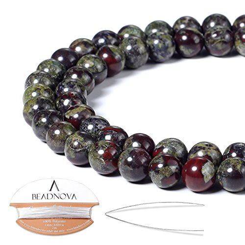 Jasper 6 Mm Gemstone - BEADNOVA 6mm Natural Dragon Blood Jasper Gemstone Round Loose Beads for Jewelry Making (63-65pcs)