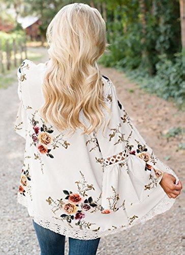 Moda Shawl Casual Pizzo Bianca Floreali Cucitura Basic Donne e Campana Kimono Autunno Primavera Cardigan a Top Maniche Fashion Simple Tunica FOqAPwYq