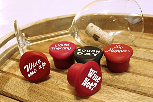 5 Wine Stoppers + Gift Box - Perfect Wine Gift Accessory, Set of 5 Funny Silicone Wine Reusable Caps Stoppers for Wine and Beer Bottles – Vinaka Wine Stoppers by The Only Gift Worth Giving (Image #8)