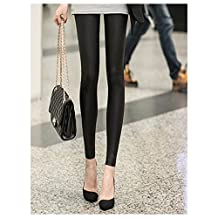 Spritech(TM) Sexy Women's Thicken Soft Elastic Faux Leather Skinny Leggings Pants Tights Black XXL