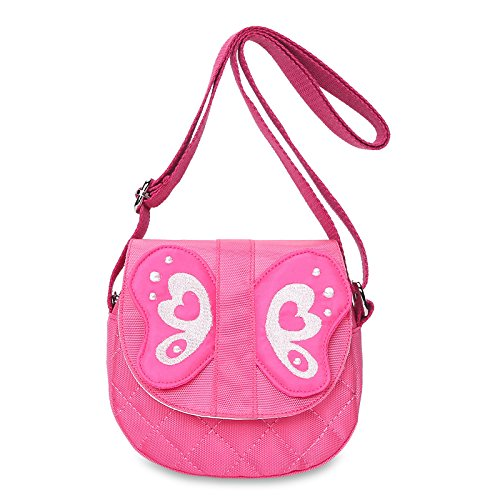 Super Cute Little Girls Purse Pink Butterfly Mini Cartoon Animal Preschool Messenger Shoulder Bag for Kids Toddler Baby Girls, Ideal Christmas & Birthday Gifts for 2, 3, 4, 5, 6 Year Old Girls by KOMIWOO