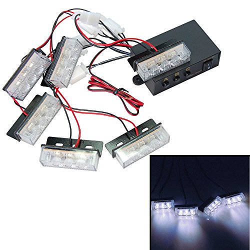 HQRP White 18 LED Emergency Vehicle Strobe Flash Lights for Front Grille / Deck or Rear plus HQRP Coaster