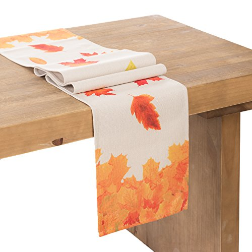 ling's moment Durable Table Runner Imitated Linen Wrinkle-Fr