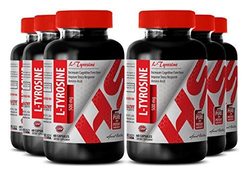 L-tyrosine and b6 - ORGANIC L-TYROSINE POWDER 500 MG - for weight loss (6 Bottles) by Healthy Supplements LLC