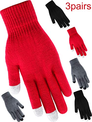 (Tatuo 3 Pairs Texting Gloves Touchscreen Gloves Stretch Knitted Mechanic Gloves Winter Warm Gloves (Style)
