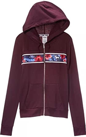 cd8c6729dbe1a Victoria's Secret Pink Hoodie Tropical Floral Full Zip Black Orchid ...